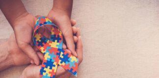 Puzzle autism hands ribbon